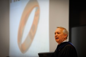 Assistant Dean and CCEE Professor, David Parish, addresses students at the College of Engineering Introduction to the Profession ceremony. Photo by Marc Hall.