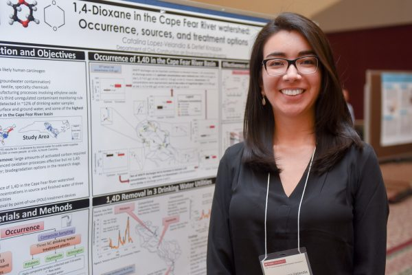 "Catalina Lopez-Velandia, a MS student in Environmental Engineering received third place for her poster, ""1,4 Dioxane in the Cape Fear River Watershed."""