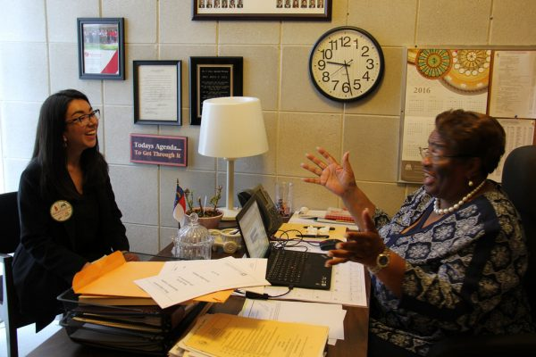 Catalina Lopez (left) meets with NC Representative Rosa Gill (right).