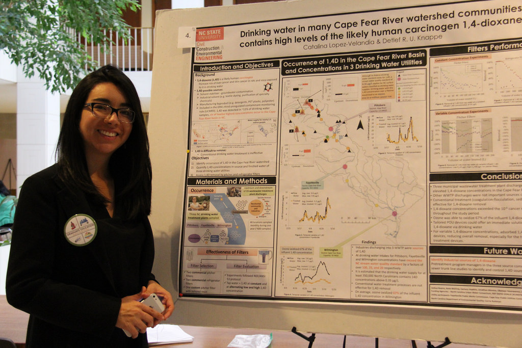 Catalina Lopez presents her research at the NC Legislative Building.