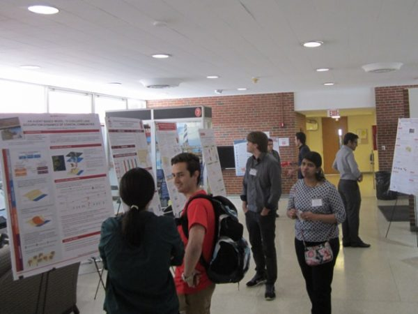 Research posters on display in the lobby of Mann Hall during the C&S symposium.