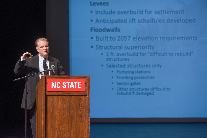 Walter Baumy discusses design details of the West Closure Complex.